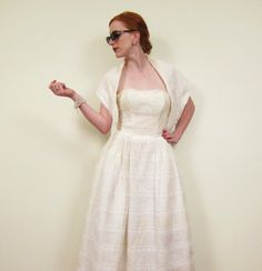 Vintage 1950s Party Dress / 50s Strapless Dress / by BasyaBerkman, $125.00