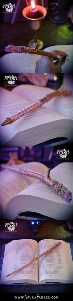 """Wizard's Writing Wand No.14: willow and lavender aura quartz crystal, 12 3/4"""" gold and pink ballpoint pen. Handcrafted by GypsyWytch Diaries"""