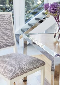 Designed for active living and exposure to the elements in mind, Thibaut introduces Solstice—a collection of Sunbrella® indoor/outdoor fabrics that have style with staying power. Outdoor Fabric, Indoor Outdoor, Sunbrella Fabric, Elegant Homes, Maine House, Slipcovers, Upholstery, Dining Chairs, Flooring