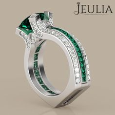 360 View of Two-in-one Princess Cut Emerald Rhodium Plated 925 Sterling Silver Women's Ring