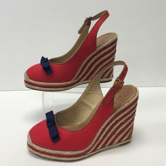 """Kate Spade wedges Fun and flirty wedges in canvas! 4.5"""" heel, cross grain ribbon bow, adjustable strap. Excellent condition! Very little signs of wear (on bottoms) kate spade Shoes Wedges"""