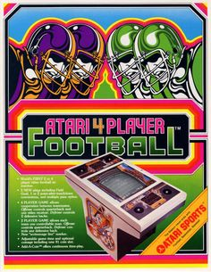 Flyer for Atari 4 Player Football, an arcade video game by Atari 1979, Eastern Hills Mall arcade had this and i would get blisters from the trac ball.
