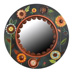 Floral Circle Mirror by Sticks - (Wood Mirror) Mirror Mosaic, Wood Mirror, Mirror Painting, Painting On Wood, Tole Painting, Large Circle Mirror, Paisley Art, Hand Stamped Metal, Copper Accents