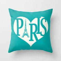 Paris Pillow Cover Turquoise Pillow Eiffel Tower Pillow Heart Pillow Decorative Pillow Love Throw Pillow - Your Color Choice 16 x 16