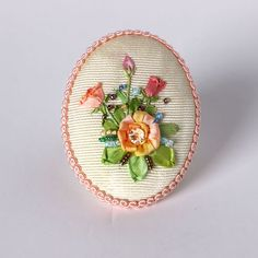 Silk Ribbon Embroidery, Ribbon Crafts, Rose Design, Handicraft, Beautiful Flowers, Pink, Cross Stitch, Sewing, Creative
