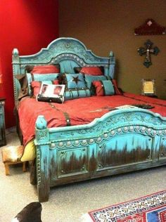 25 Western Bedroom Design And Decorating Ideas Red Bedroom Design, Bedroom Red, Dream Bedroom, Bedroom Decor, Interior Design, Bedroom Rustic, Bedroom Ideas, Mexican Bedroom, Southwest Bedroom