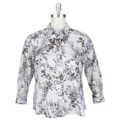 069266483d8 Foxcroft Plus Size Fitted Floral Print Shirt  VonMaur  Foxcroft  White   ButtonFront