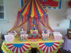 - Carnival themed cake and candy buffet table