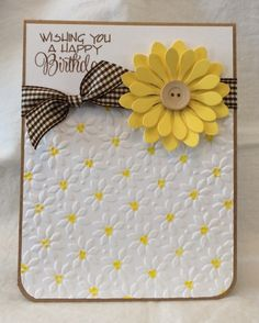 Happy Daisy Birthday by EmileeAnn - Cards and Paper Crafts at Splitcoaststampers handmade card: Happy Daisy Birthday by EmileeAnn … layered die cut daisy with a button center . Handmade Birthday Cards, Happy Birthday Cards, Greeting Cards Handmade, Diy Birthday, Card Birthday, Bday Cards, Embossed Cards, Paper Cards, Ribbon Cards