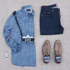 cbb3d313 I love the way this retro camera paired with this amazing chambray shirt  from Blue Slub Chambray Shirt: Denim: ...