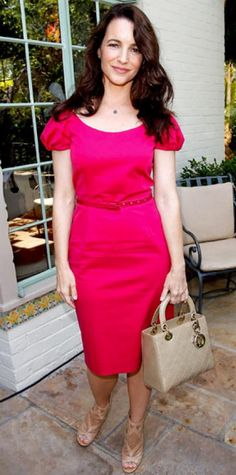 MAY 29, 2011 Kristin Davis WHAT SHE WORE Davis dined at the P.S. Arts Bag Lunch sponsored by Dior Beauty in a hot pink sheath, blush heels and a the label's quilted tote.