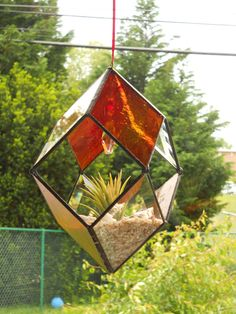 3D Hanging Stained Glass Terrarium by connysstainedglass on Etsy, $40.00