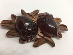 Large statement original brooch with wooden base and 2 large carved tortoise shell acorns. Entire piece measures 3 x 2 Acorns measure 1 x Tested and Guaranteed genuine original vintage Bakelite. Tortoise Shell, Acorn, Carving, Brooch, Wood, Handmade, Etsy, Vintage, Hand Made