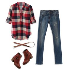 While the simplicity of a plaid top allows for throw-on-and-go styling, at Stitch Fix we love to use styling techniques that add a touch of femininity and create a chic final look. To create a bala...