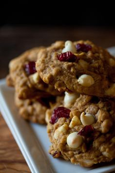 Oatmeal pumpkin cookies with cranberries and white chocolate chips..  sounds good but i would use regular chocolate chips