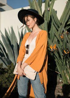 Goldenrod Kimono, Vintage Zorro Hat, Lanvin Serpent Sunnies, Levi's® 511's, Zara Envelope Clutch