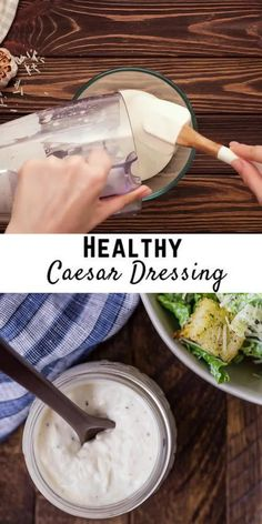 Prepare a classic Caesar salad easily with your own healthy Caesar dressing. Lower in calories than traditional Caesar dressings, you'll love how great this homemade salad dressing tastes. Healthy Caesar Dressing Recipe, Homemade Dressing Recipe, Creamy Salad Dressing, Easy Salads, Easy Meals, Classic Caesar Salad, Full Fat Yogurt, Main Dish Salads, Kid Friendly Meals