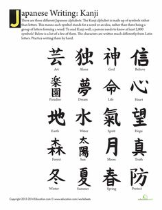 Some languages use characters to represent meaning rather than sounds. Explore the Japanese Kanji alphabet, which is one of the tougher ones to learn. Kids will get a great intro to a foreign language as they practice drawing these characters. Small Japanese Tattoo, Japanese Symbol, Traditional Japanese Tattoos, Japanese Kanji, Japanese Sleeve Tattoos, Japanese Words, Japanese Art, Kanji Alphabet, Kanji Tattoo