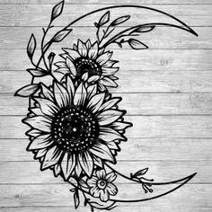 Girly Tattoos, Love Tattoos, Body Art Tattoos, Small Tattoos, Tattoo Design Drawings, Art Drawings Sketches, Moon Tattoo Designs, Sunflower Tattoos, Sunflower Mandala Tattoo