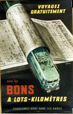 Rousset - Bons à lots-kilomètres - 1957 vintage train poster