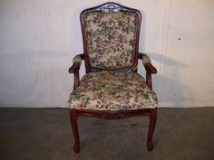 Antique Late 1800s Hand Carved French Armchair Nice Upholstery