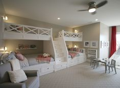 This is an unbelievable bunk room! How gorgeous. We love the custom beds and that darling tea table. What about this space resonates with… Bunk Bed Designs, Girl Bedroom Designs, Girls Bedroom, Bedroom Decor, Bunk Bed Rooms, Bunk Beds Built In, Huge Bedrooms, Huge Master Bedroom, Master Baths