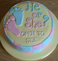 Gender reveal cake Torta Baby Shower, Fiesta Baby Shower, Baby Shower Cakes For Boys, Baby Boy Shower, Baby Showers, Cupcakes, Cupcake Cakes, Baby Reveal Cakes, Cake Quotes