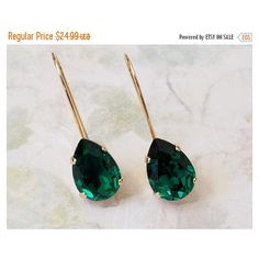 Emerald Teardrop Earrings, Bridesmaids Jewelry Gift, Emerald Green... ($22) via Polyvore featuring jewelry and earrings