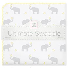Soft Cotton Flannel Ultimate #Swaddle #Blanket for #Baby - Elephant & Chickies #AmericanMade #Sleep