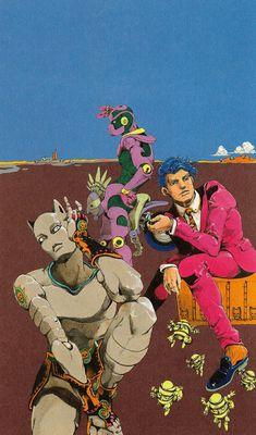 Yoshikage Kira & Killer Queen, Hierophant Green & The Fool, and Harvest Bizarre Kunst, Bizarre Art, Jojo Bizarre, Jojo's Bizarre Adventure Anime, Jojo Bizzare Adventure, Blue Exorcist, Inu Yasha, Yoshikage Kira, Jojo Anime