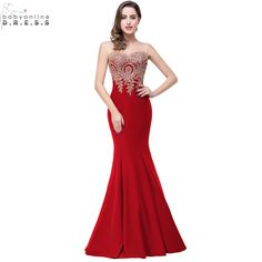 Robe de Soiree Longue Sexy Backless Red Mermaid Lace Evening Dress 2016 Long Cheap Appliques Evening Gowns Vestido de Festa