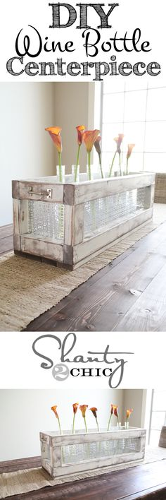 Easy DIY Wine Bottle Crate Centerpiece! Easy, quick and inexpensive! www.shanty-2-chic.com
