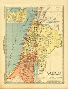Antiguo mapa de Tierra Santa 1899 Palestina mapa