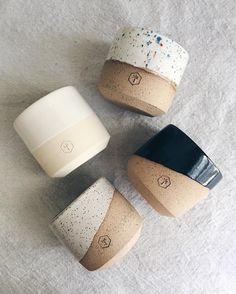 small planters by Erica Tuomi ( Ceramic Cups, Ceramic Pottery, Ceramic Art, Ceramic Planters, Keramik Design, Pottery Classes, Pottery Designs, Stoneware, Clay