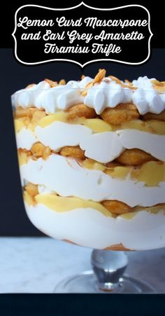 A bright layered Tiramisu Trifle Dessert featuring lemon curd and mascarpone. A bright layered Tiramisu Trifle Dessert featuring lemon curd and mascarpone. Trifle Dish, Köstliche Desserts, Delicious Desserts, Dessert Recipes, Layered Desserts, Trifle Recipe, Lemon Desserts, Plated Desserts, Lemon Tiramisu