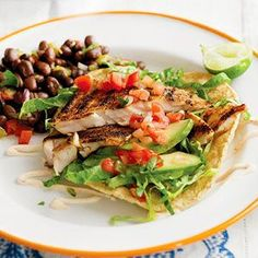 Grilled Fish Tacos with Chipotle Cream