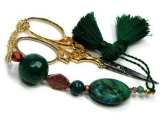 Beaded Scissor Fob Yellow Turquoise Green Copper by TJBdesigns, $18.00