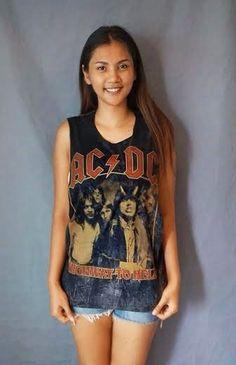 ACDC Retro Tank top shirt stone wash Sleeveless  Singlet  vest  T-Shirt Dress Retro Rock Punk  Size M One size on Etsy, ฿476.19