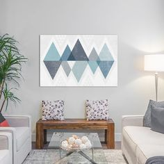 """East Urban Home Mod Triangles II.A Graphic Art on Wrapped Canvas Size: 18"""" H x 26"""" W x 1.5"""" D"""