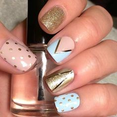 Nude, Blue and Gold Nail Art Design