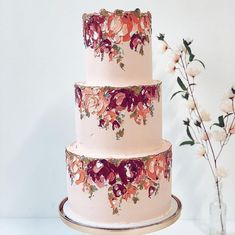 Hanging garden on a peach base 🌷🌿🍑 The Effective Pictures We Offer You About romantic wedding cake flowers A quality picture can tell you many things. Floral Wedding Cakes, Wedding Cake Designs, Floral Cake, Beautiful Wedding Cakes, Beautiful Cakes, Elegant Wedding, Buttercream Bakery, Cake Trends, Painted Cakes