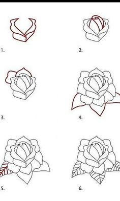 How to Draw a Classic Tattoo Style Rose Rose Step By Step, Step By Step Drawing, How To Draw Flowers Step By Step, Pencil Drawing Tutorials, Art Tutorials, Drawing Ideas, Roses Drawing Tutorial, Easy Drawings, Tattoo Drawings