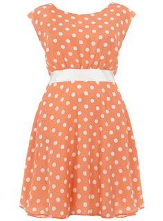 Bridesmaid dress  Coral polka dot dress