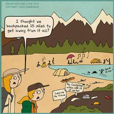 Hiking cartoon and backpacking humor about leave no trace