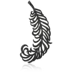 Kenneth Jay Lane Black, Jet Pave Feather Pin