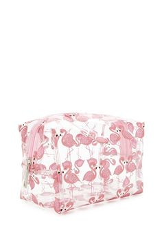 A clear makeup bag featuring an allover shark print and a top ...