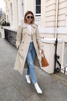 Trench coat outfit for spring Cute Outfits With Jeans, Outfit Jeans, Jean Outfits, Chic Outfits, Spring Outfits, Trendy Outfits, Fashion Outfits, Outfits With Boots, Semi Formal Outfits For Women