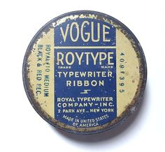#Vintage Vogue #Typewriter Ribbon #ArtDeco #Tin Paperclips Tack Inside Park Avenue Floral Metal Roytype Notions Holder Office Supplies NY Round by #SoaringHawkVintage on #Etsy