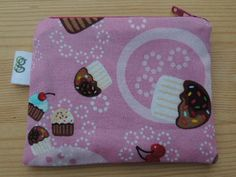Padded Zip Pouch purse Gadget Coin Case - valentines day pink cupcakes print