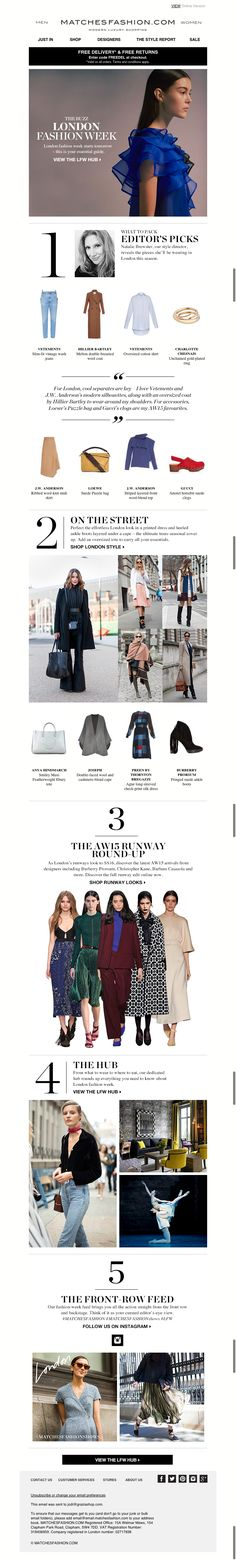 fashion week net a porter email